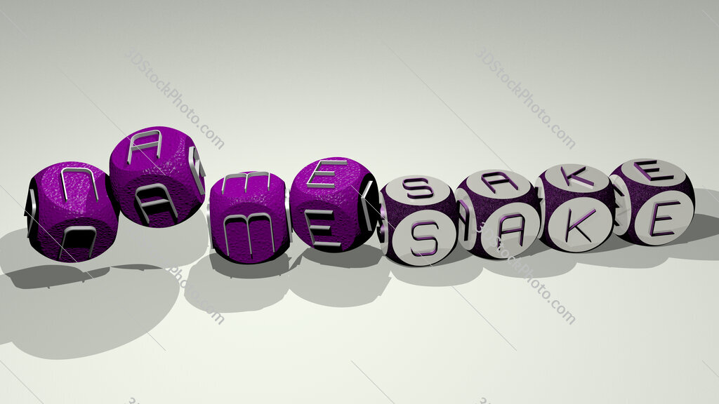 namesake text by dancing dice letters