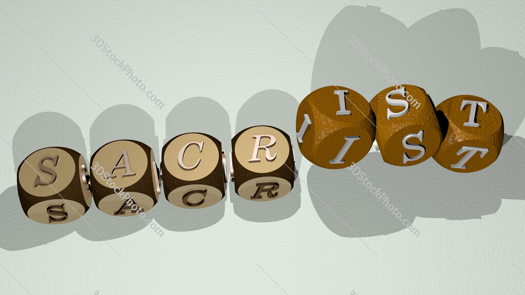 sacrist text by dancing dice letters