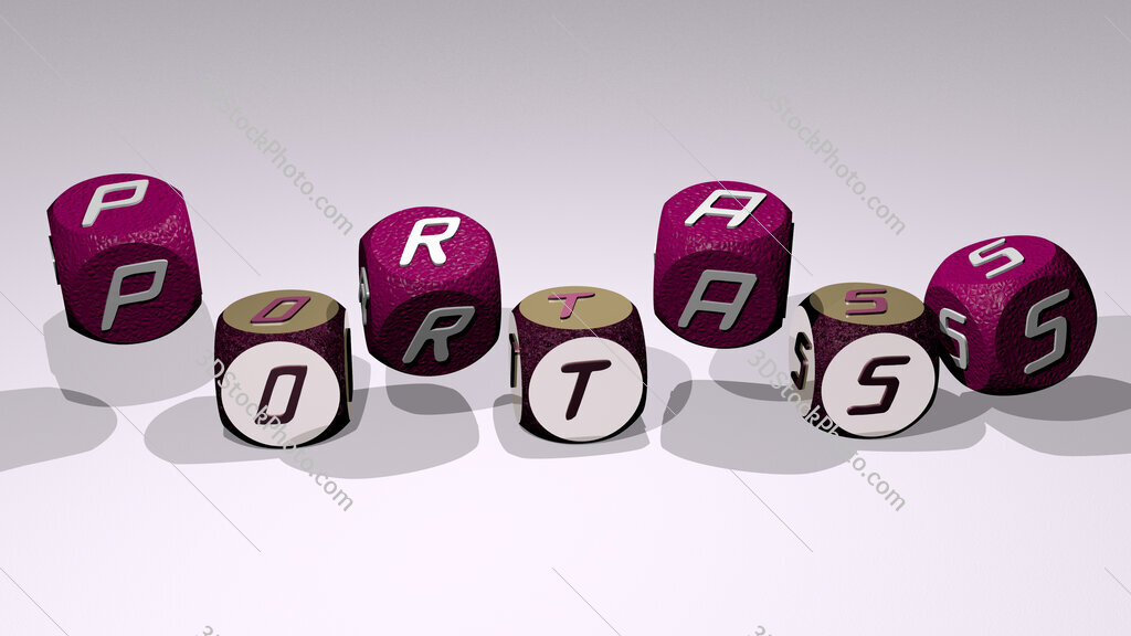 portass text by dancing dice letters