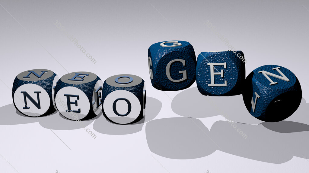 neogen text by dancing dice letters