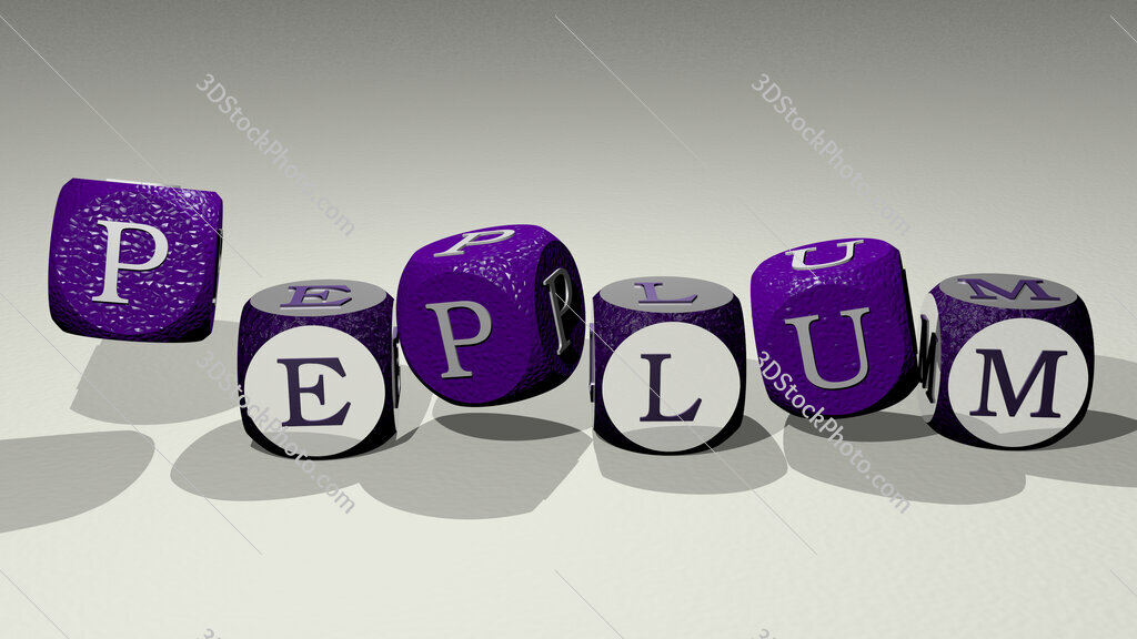 peplum text by dancing dice letters