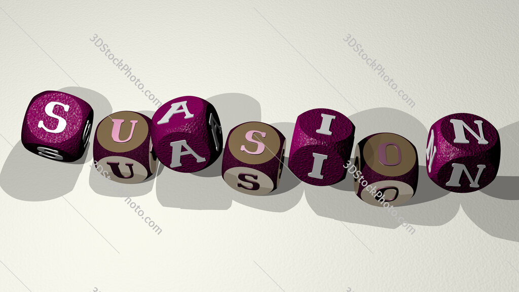 suasion text by dancing dice letters