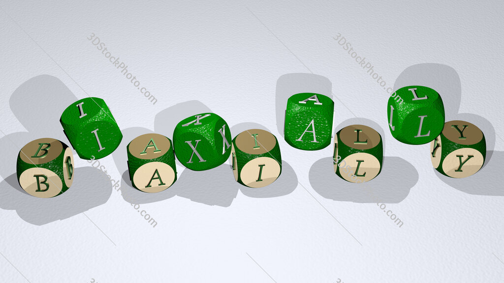 biaxially text by dancing dice letters