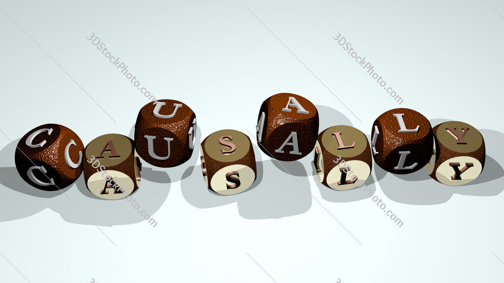 causally text by dancing dice letters