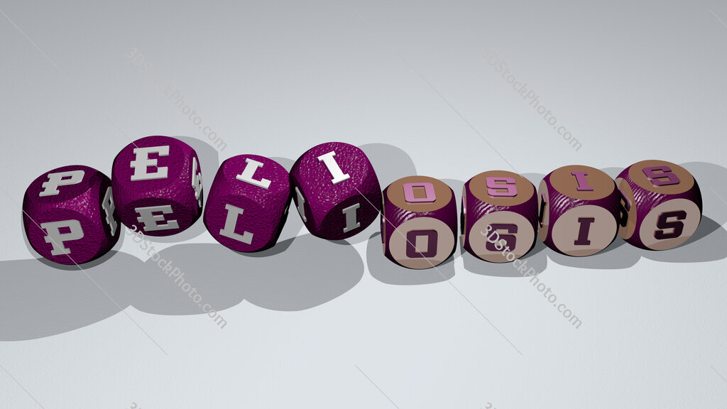 peliosis text by dancing dice letters