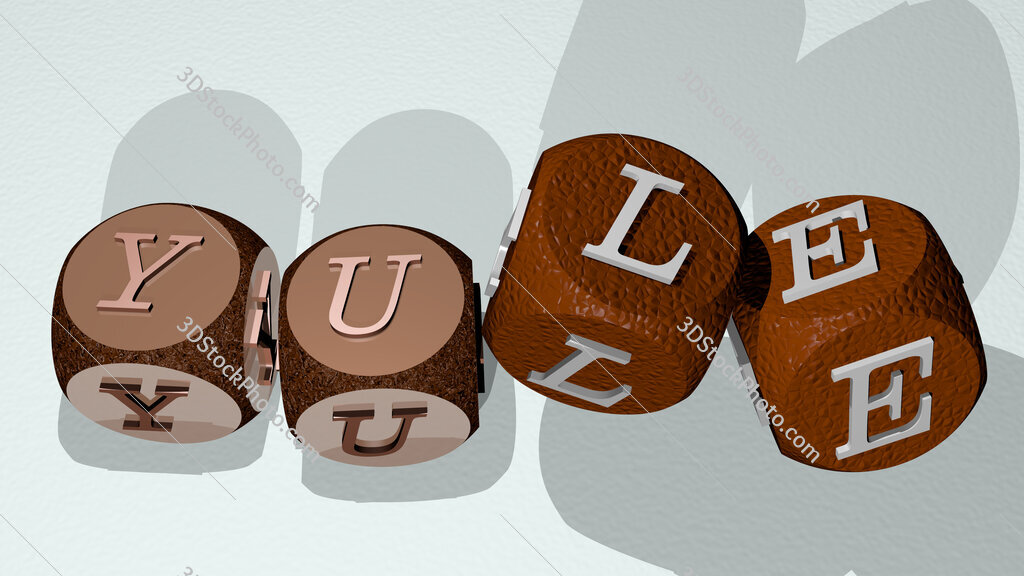 Yule text by dancing dice letters