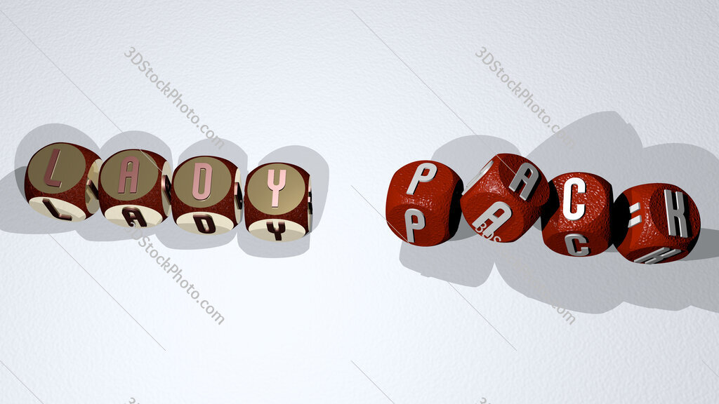 lady pack text by dancing dice letters