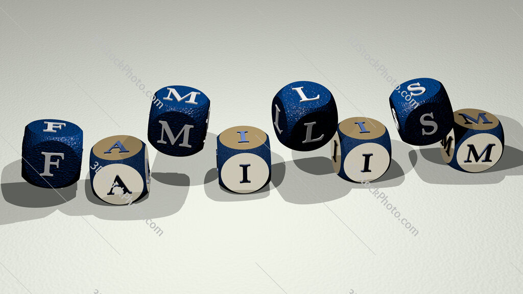 familism text by dancing dice letters