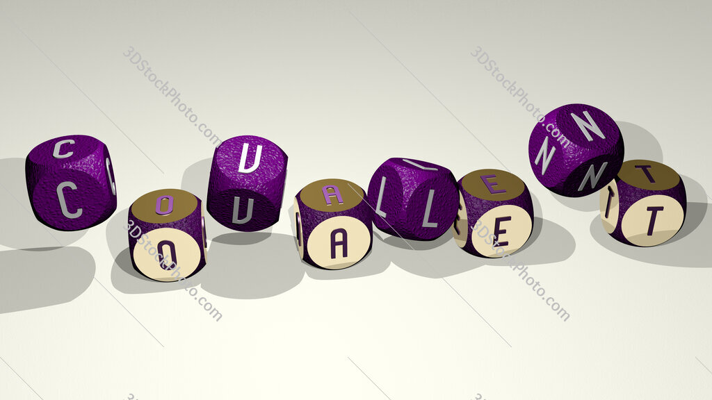 covalent text by dancing dice letters
