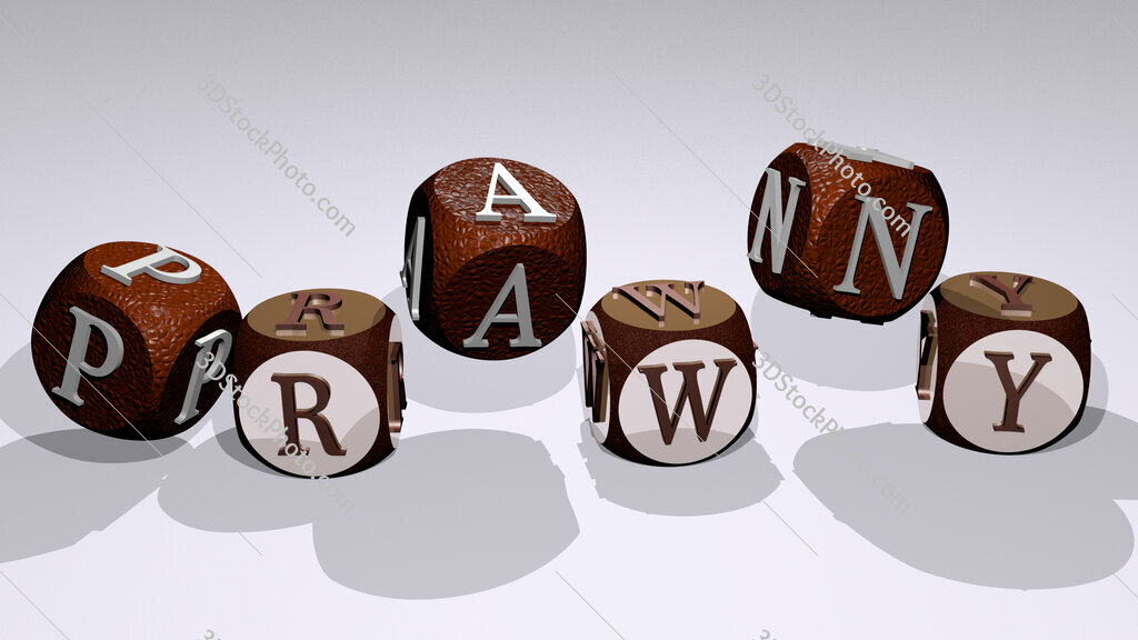 prawny text by dancing dice letters