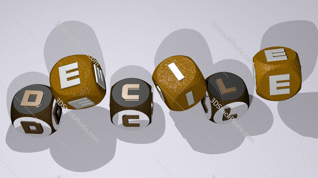 decile text by dancing dice letters