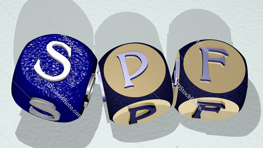 SPF text by dancing dice letters