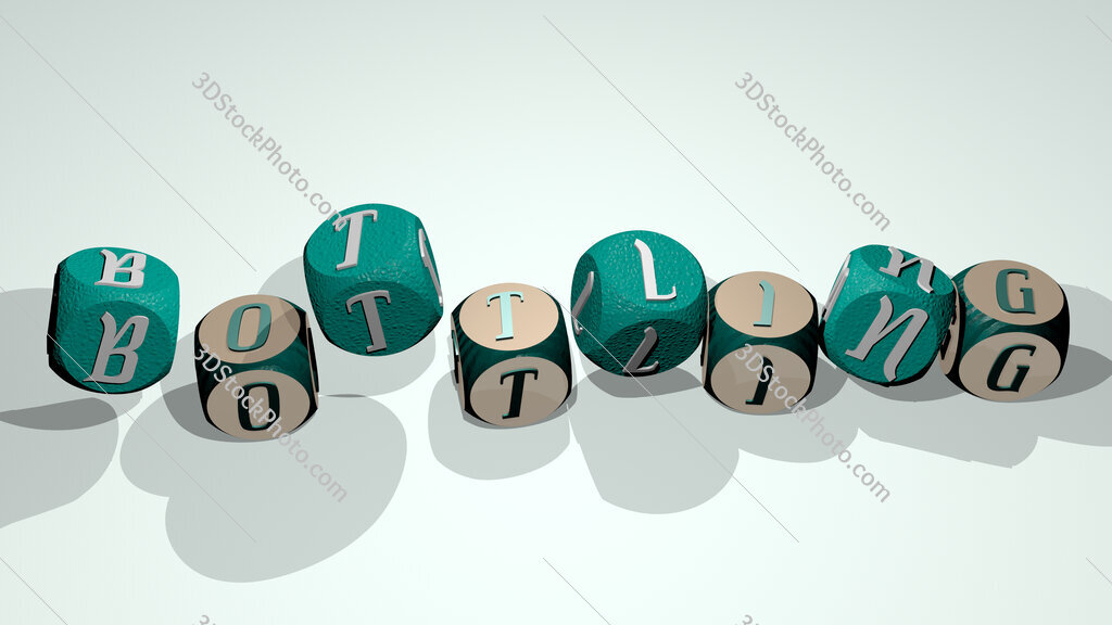 bottling text by dancing dice letters