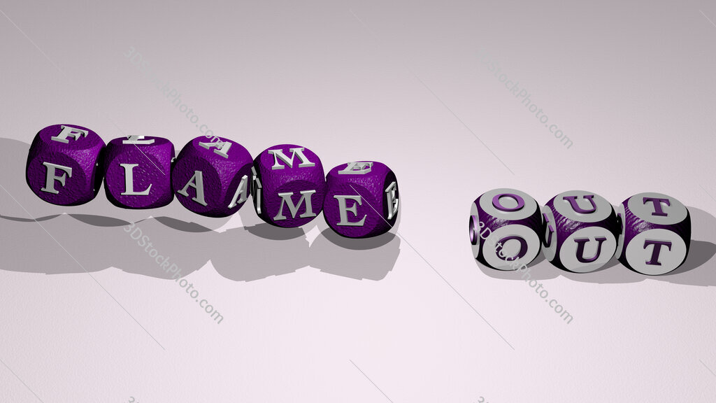flame out text by dancing dice letters