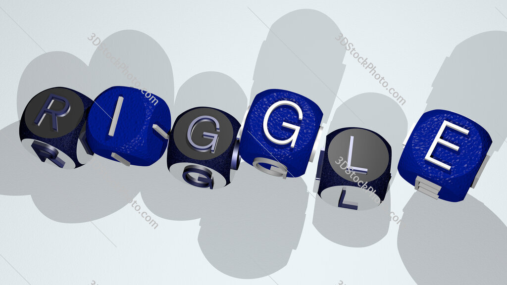 riggle text by dancing dice letters