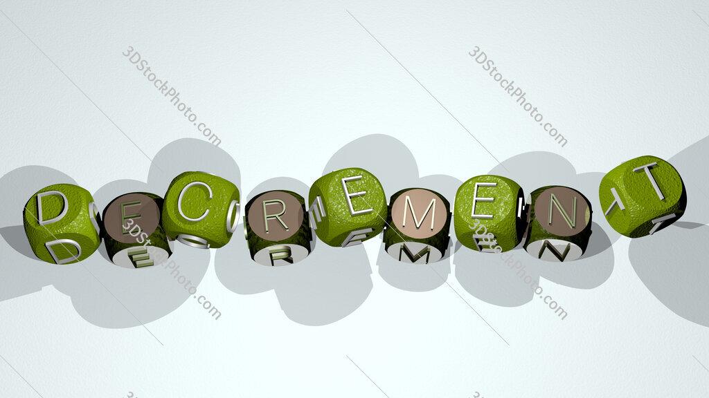decrement text by dancing dice letters