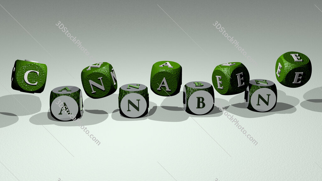 cannabene text by dancing dice letters
