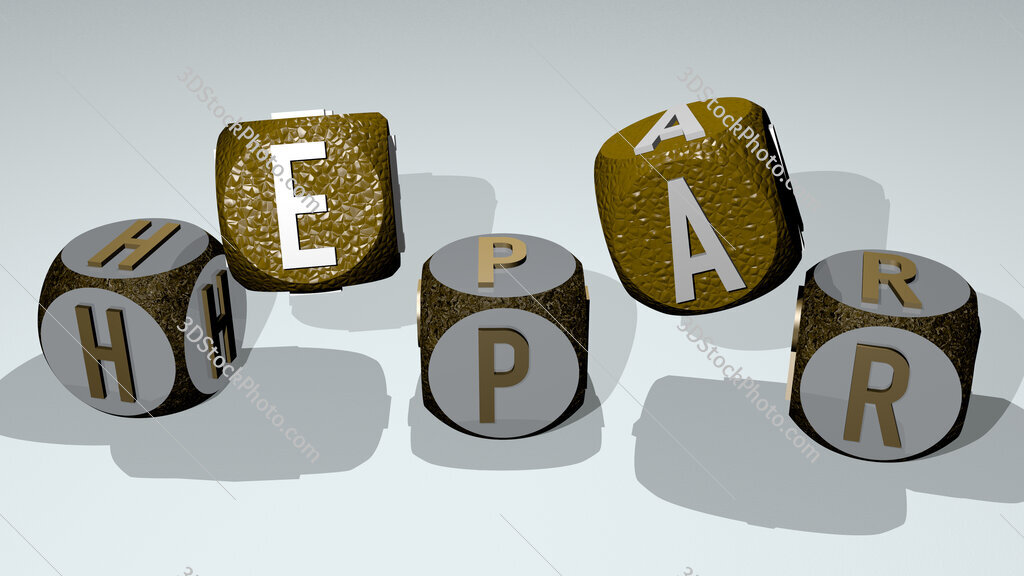 hepar text by dancing dice letters