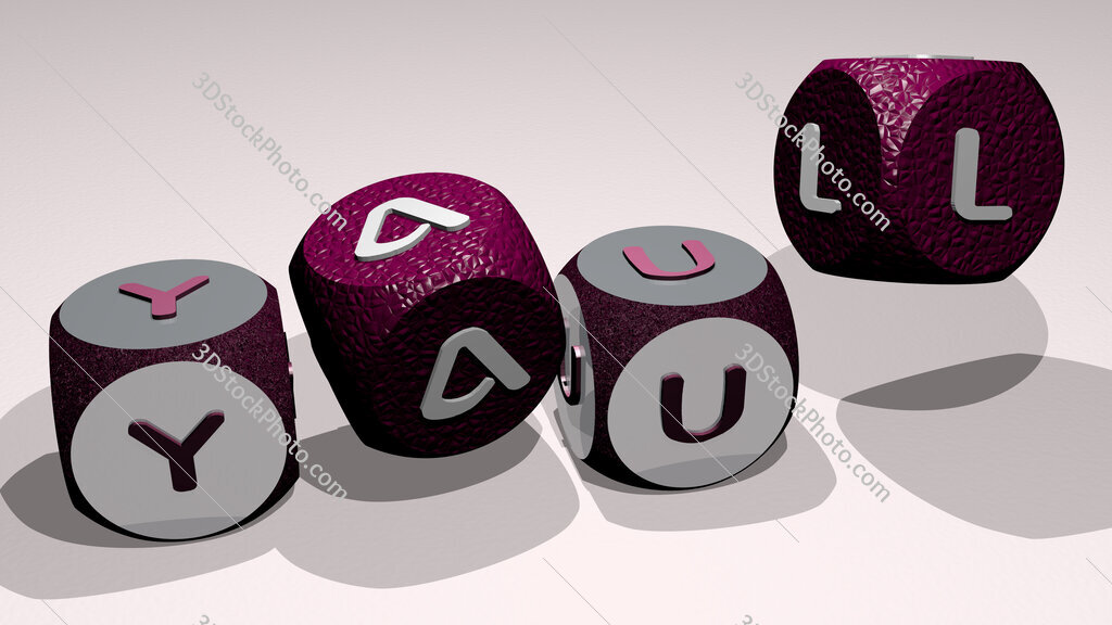 yaul text by dancing dice letters