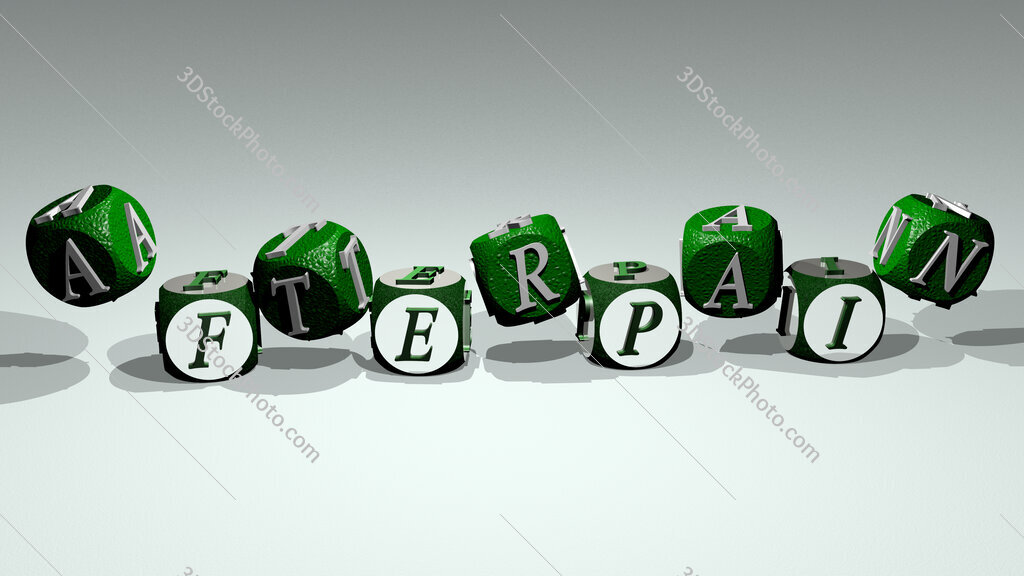 afterpain text by dancing dice letters