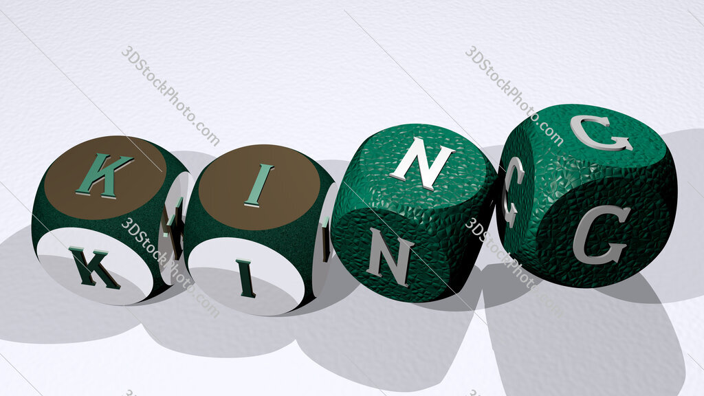 king text by dancing dice letters