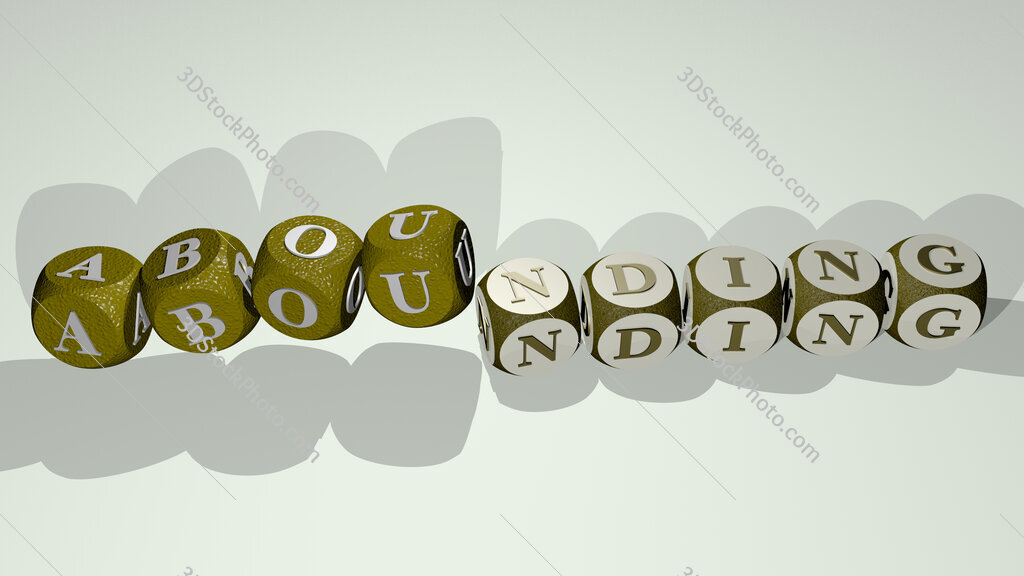 abounding text by dancing dice letters