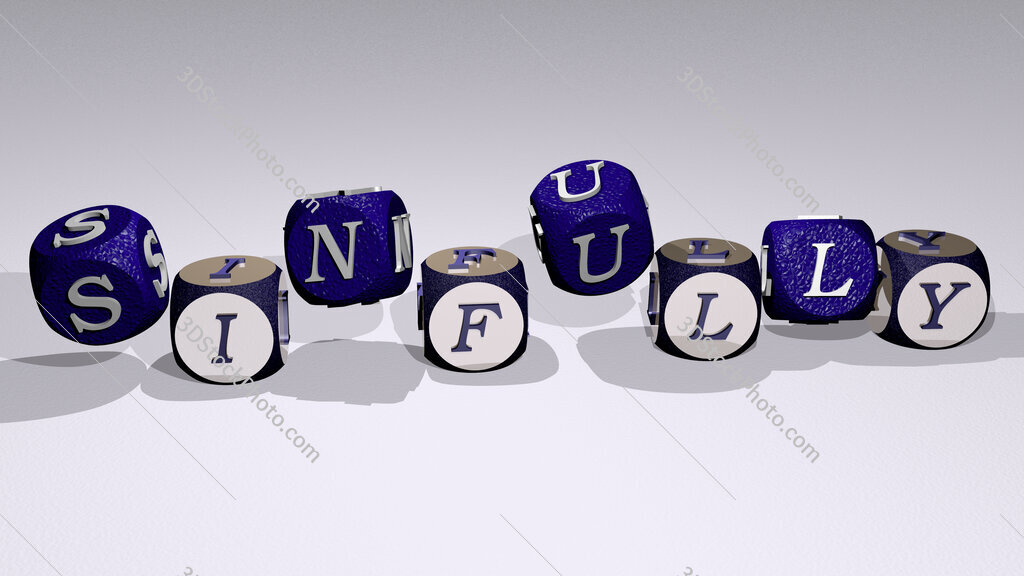 sinfully text by dancing dice letters