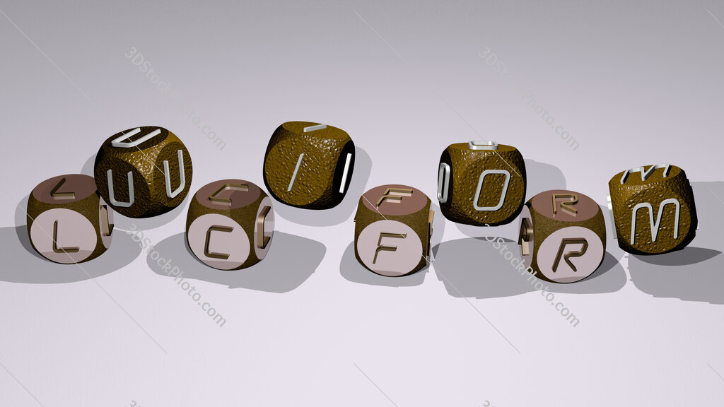 luciform text by dancing dice letters