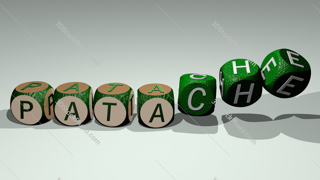 patache text by dancing dice letters