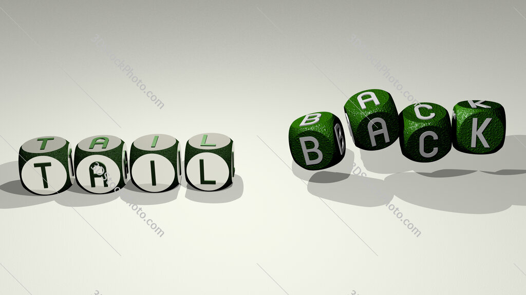 tail back text by dancing dice letters