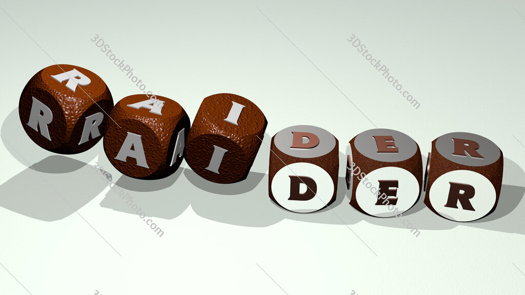 raider text by dancing dice letters