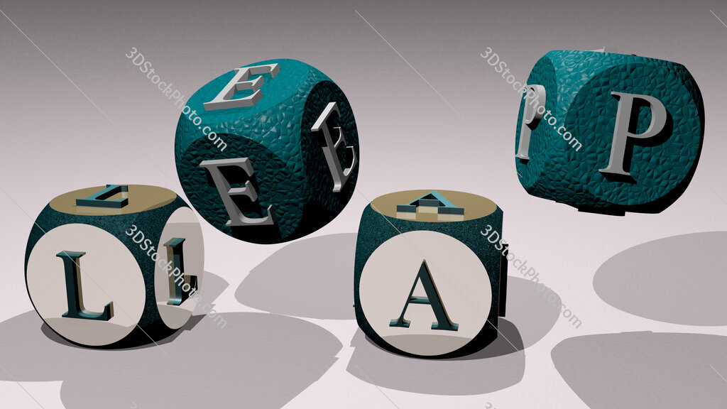 leap text by dancing dice letters