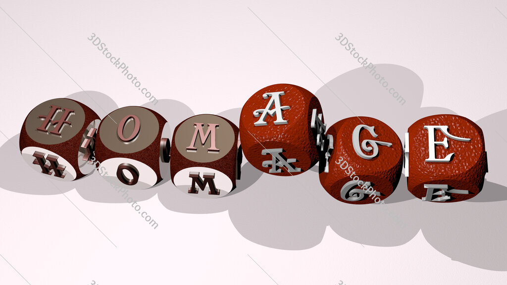 homage text by dancing dice letters