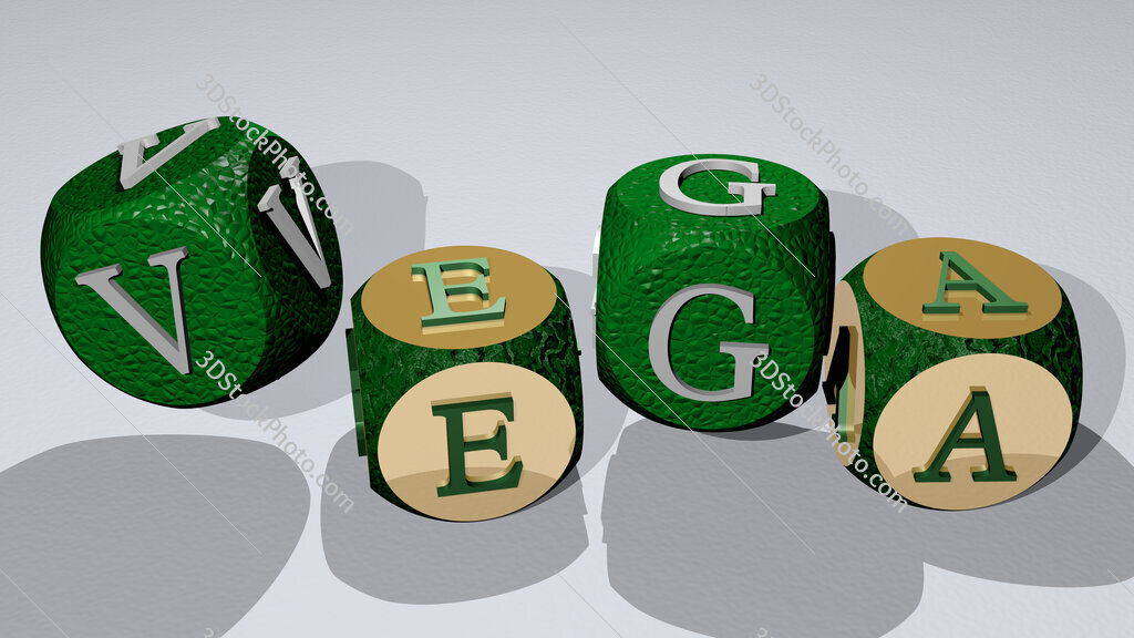 Vega text by dancing dice letters
