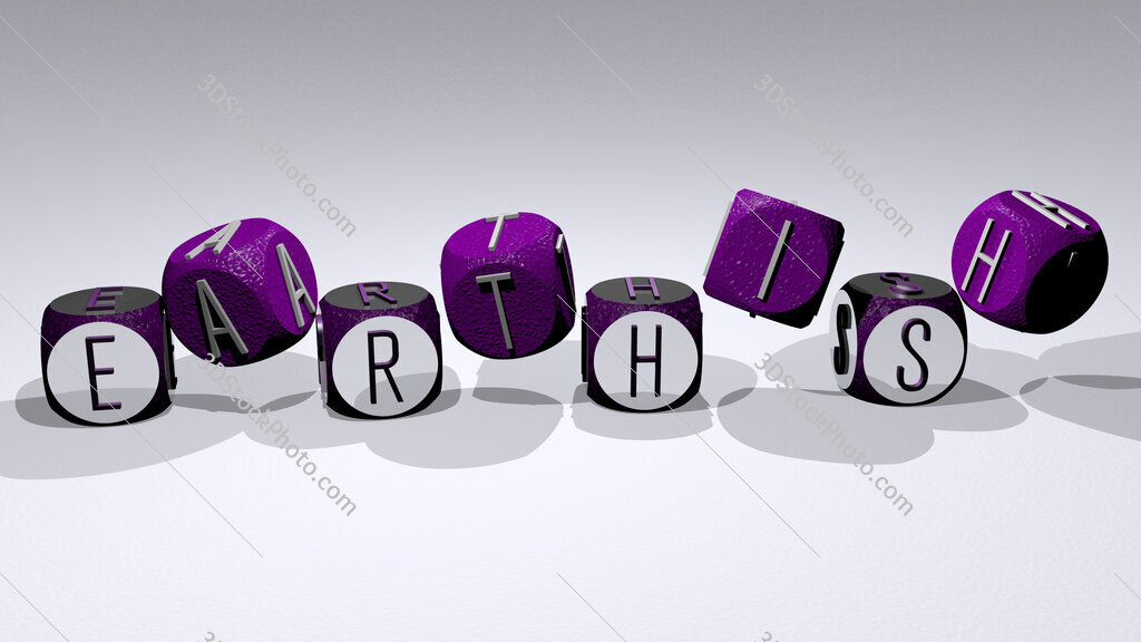 earthish text by dancing dice letters