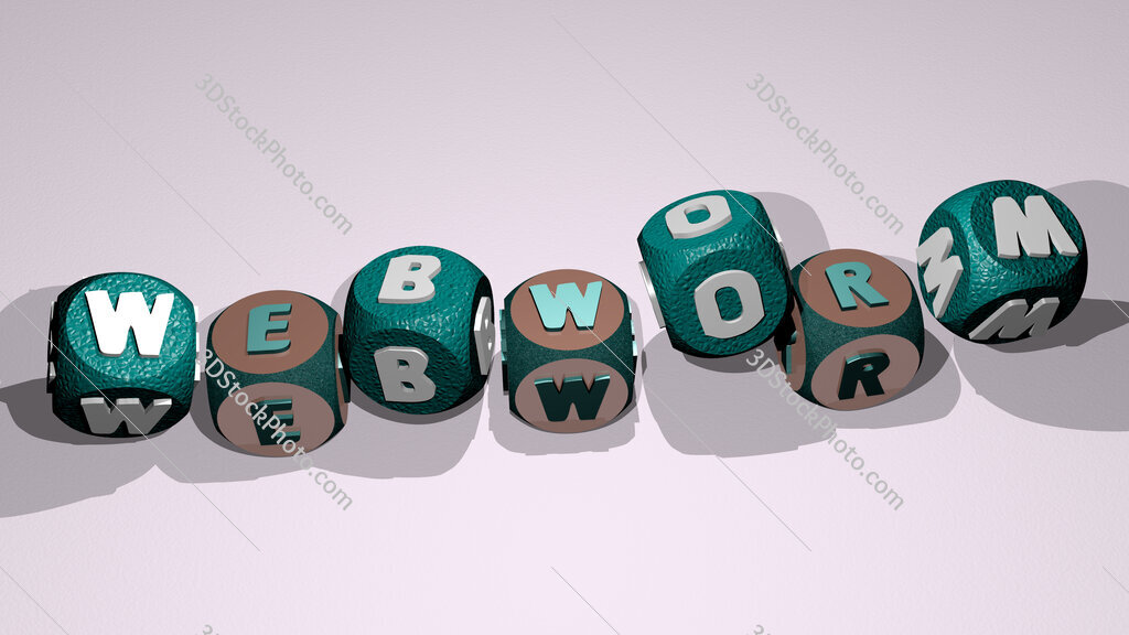 webworm text by dancing dice letters