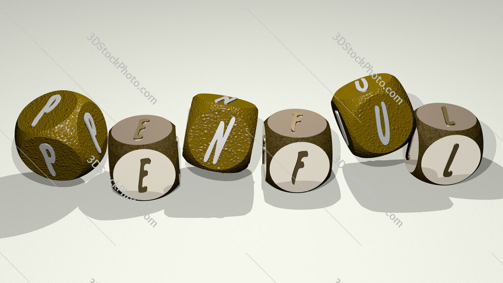 penful text by dancing dice letters