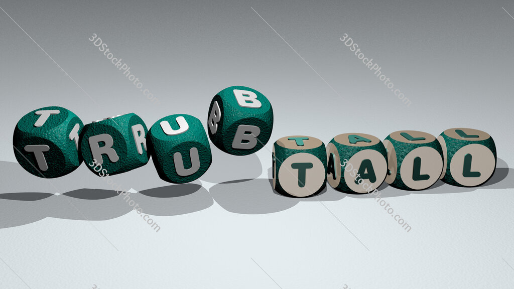 trubtall text by dancing dice letters