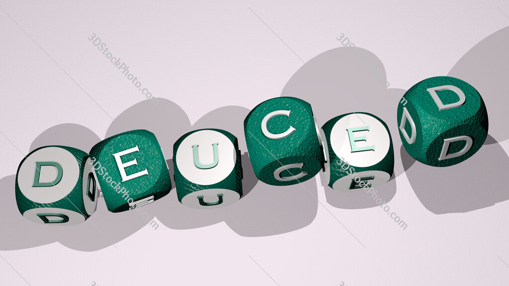 deuced text by dancing dice letters