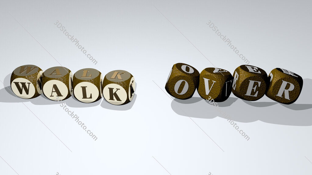 walk over text by dancing dice letters