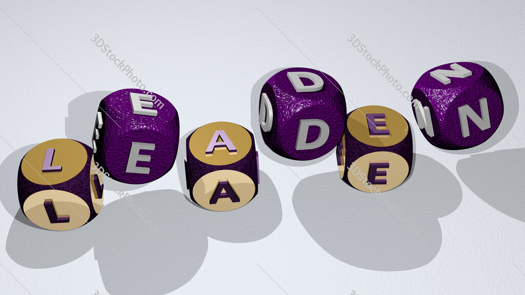 leaden text by dancing dice letters