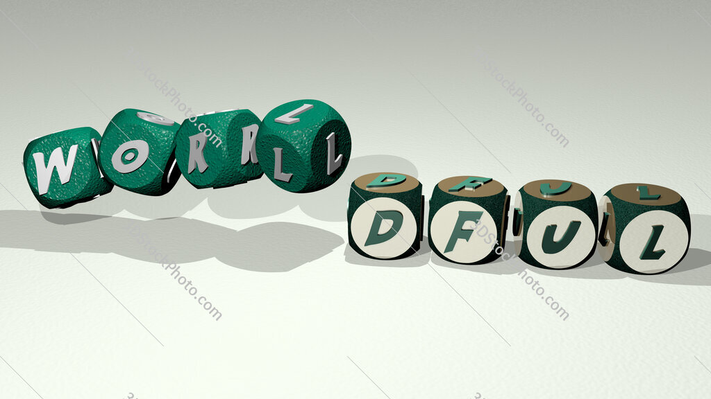 worldful text by dancing dice letters