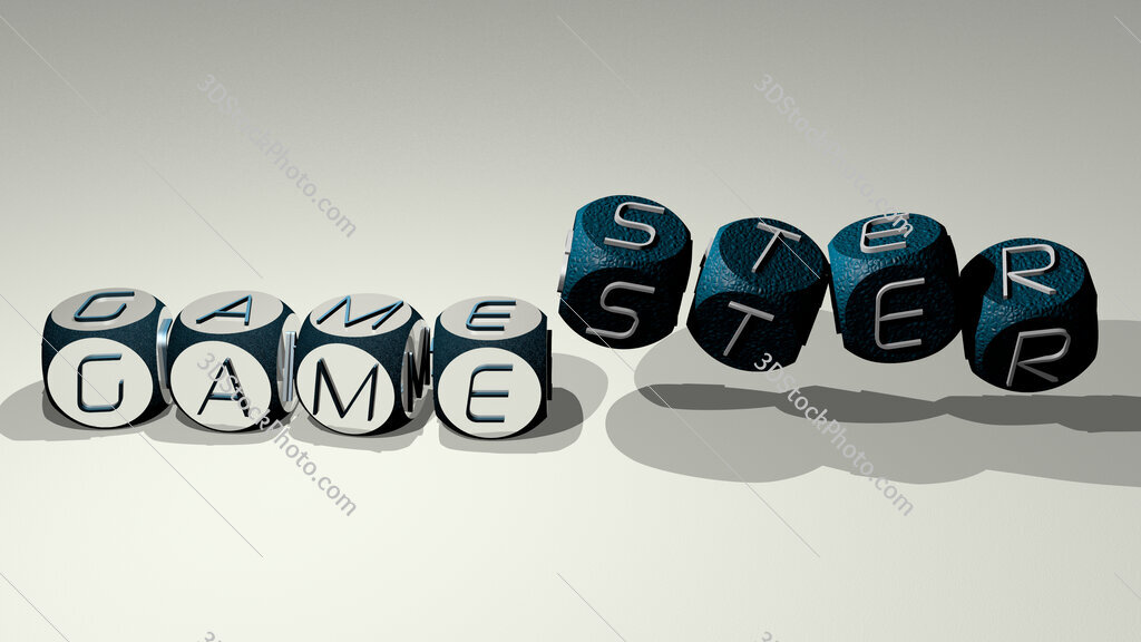 gamester text by dancing dice letters