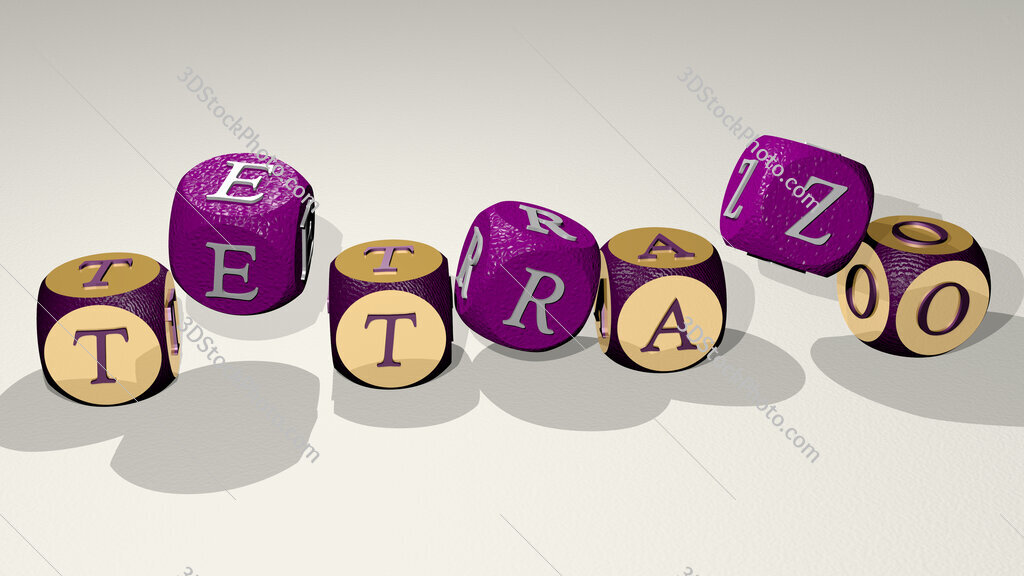 tetrazo text by dancing dice letters