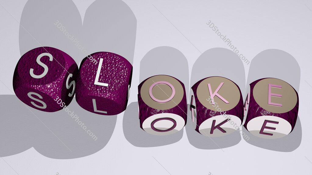 sloke text by dancing dice letters