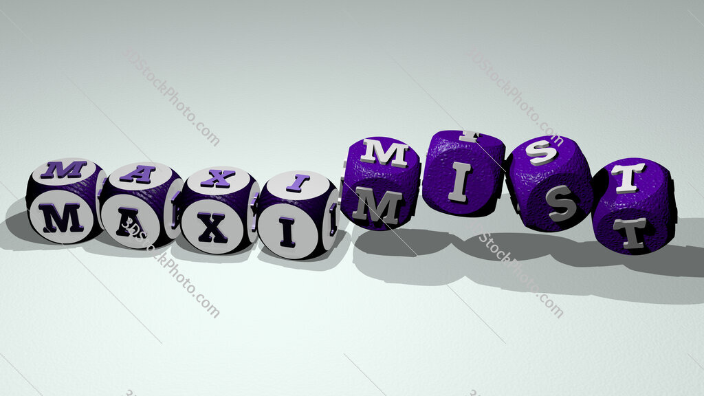 maximist text by dancing dice letters