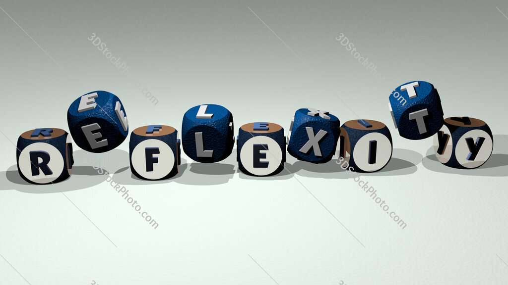 reflexity text by dancing dice letters