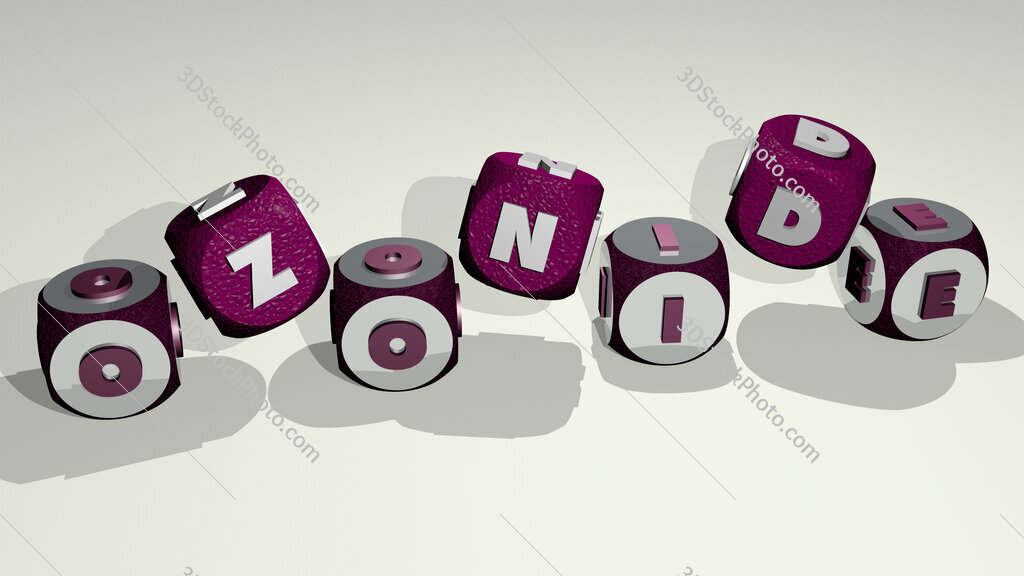 Ozonide text by dancing dice letters
