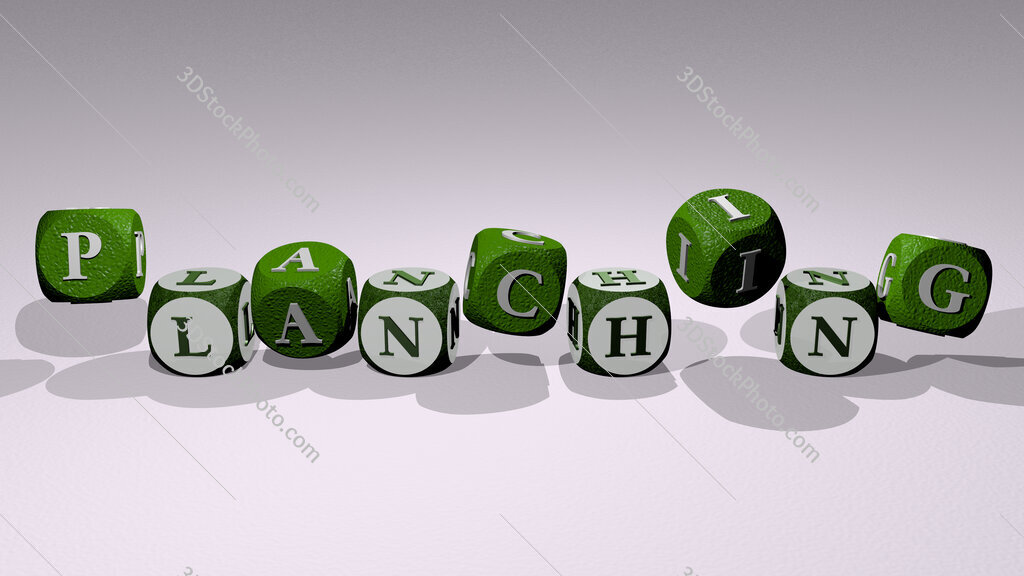 planching text by dancing dice letters