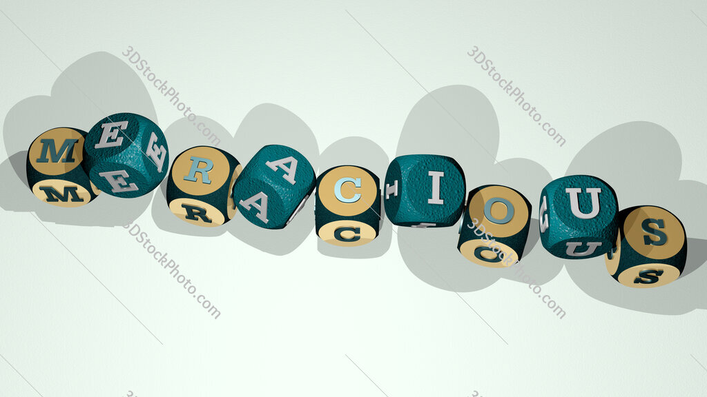 meracious text by dancing dice letters